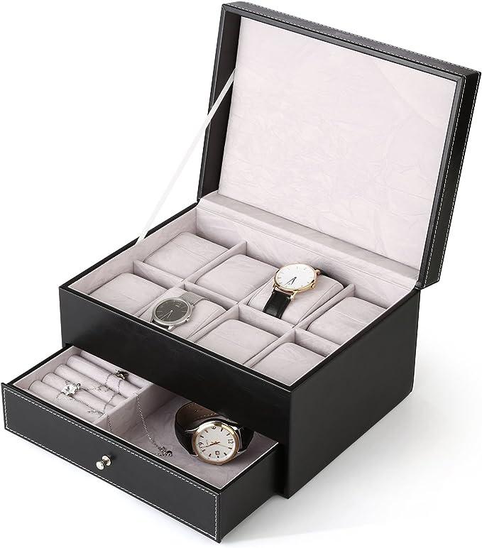 Amzdeal Caja de relojes,Estuche para relojes 2 capas con 20 ...