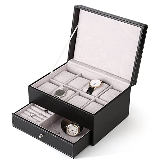 Amzdeal Caja de relojes,Estuche para relojes 2 capas con 20 compartimentos para Relojes,Joyas y Pulseras - Color Negro: Amazon.es: Relojes
