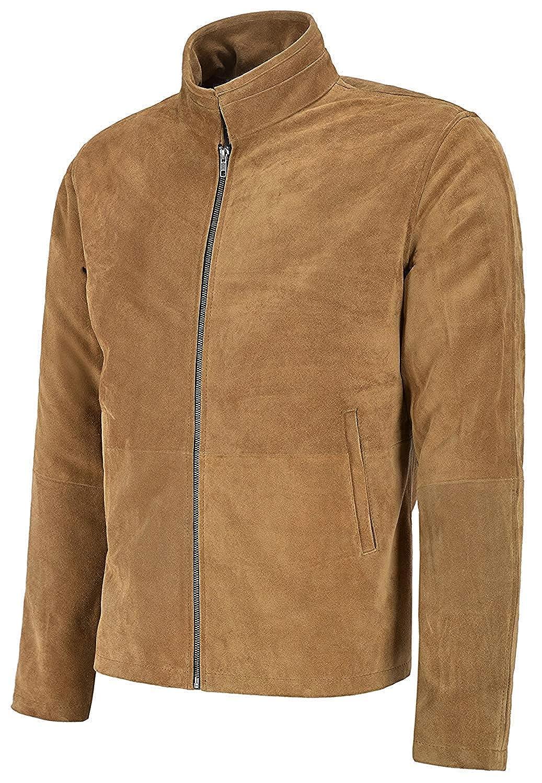 b03c6f04ff0c8 Men s James Bond Daniel Craig Spectre Morocco Blouson Suede Camel Color Leather  Jacket at Amazon Men s Clothing store
