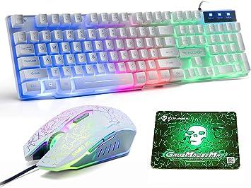 UK Disposición Juegos de teclado y mouse para juegos Retroiluminación retroiluminada Rainbow Usb Gaming Keyboard + 2400DPI 6 Botones Optical Rainbow ...