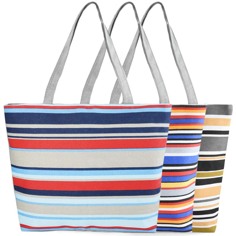 Insour 3PCS Canvas Holiday Tote Bag Ladies Striped Canvas Tote Bag Beach Shoulder Bag Fashion Shopping Bag Striped Large Canvas Handbag with Zip for Shopping Travel Beach Work