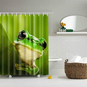 hipaopao Cute Frog Green Fabric Shower Curtain Sets Bathroom Decor with Hooks Waterproof Washable 72 x 72 inches Yellow Black White