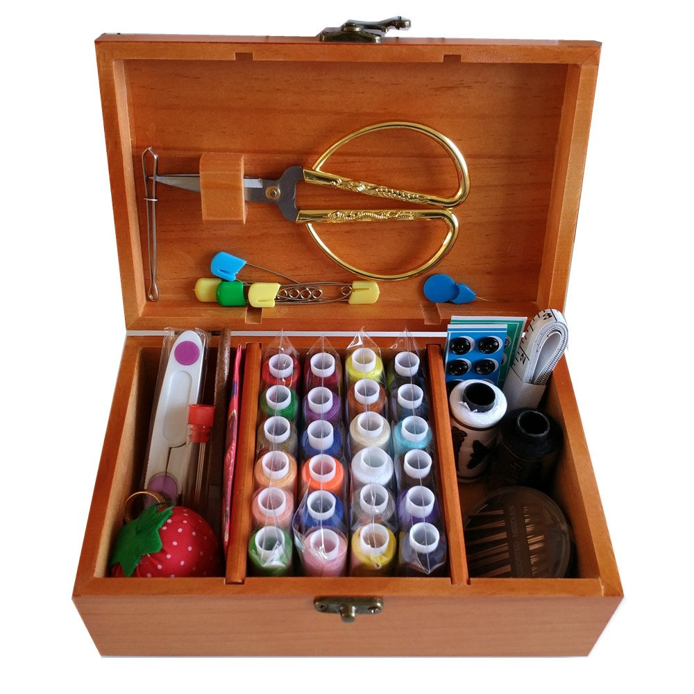Wooden Sewing Basket/Sewing Box with Sewing Kit Accessories by Summer_chuxia