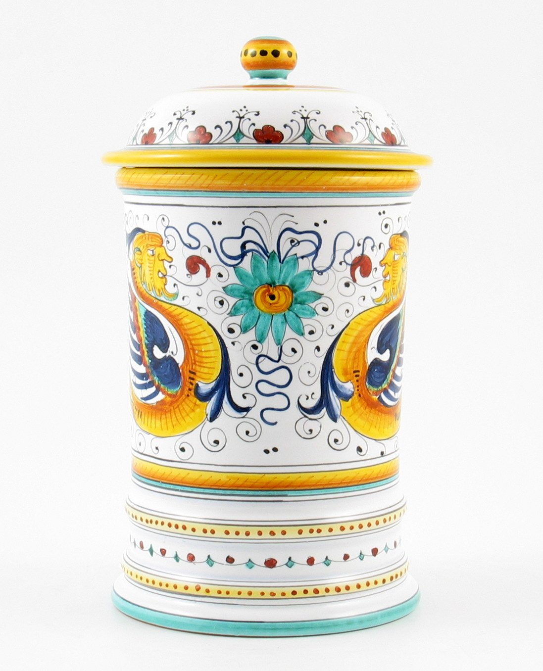 Hand Painted Italian Ceramic 9.8-inch Shaped Canister Raffaellesco - Handmade in Deruta