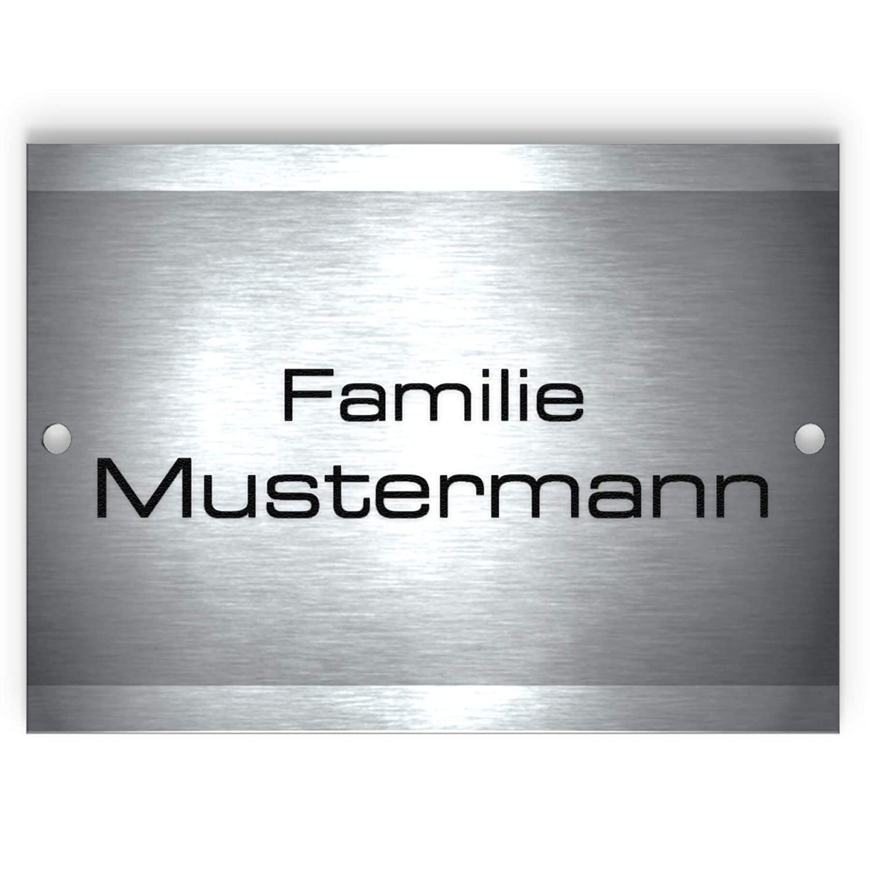 Metzler-Trade - Namensschild Edelstahl – für Briefkasten, Haustür oder Wand-montage – inklusive Gravur – selbstklebend oder Bohrungen – wetterfest - Produktmaße: 110x80mm (Selbstklebend)