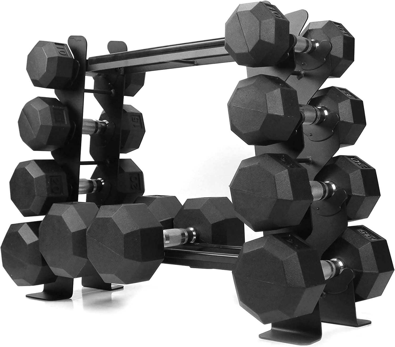 2-Tier Kettlebell Storage Rack Holds Up to 20 Kettlebells or Dballs