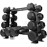 XPRT Fitness Rubber Dumbbell Stand – Dumbbell Storage Rack, Perfect for 5-30 lbs Set – 2 Tiers & 2 Vertical Slots with Protec