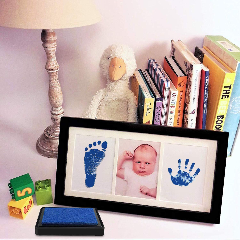 Schwarz,Blau, Rosa Fu/ßabdruck Baby und Handabdruck Baby Fu/ß oder Hand-Abdruckset Set Baby Stempelkissen Sichere wiederverwendbare,leicht abzuwaschen