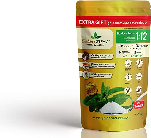 Edulcorante Golden Stevia 90g=1kg azucar endulzante mas 1:12 de azucar de abedul, stevia pura para diabeticos, dieta cetogenica, stevia 100 natural ...