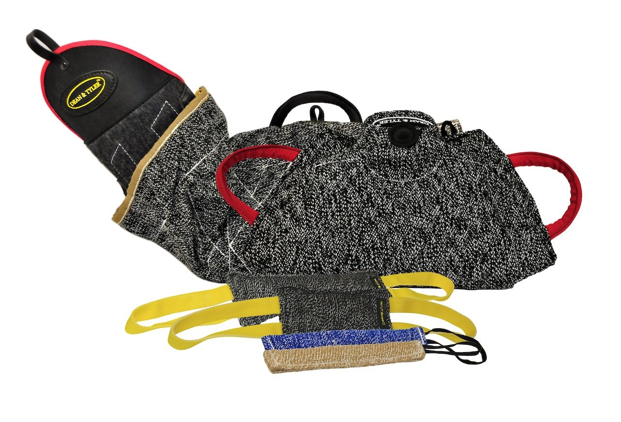 Dean & Tyler 6-Piece Professional Training Bundle Set for Dogs with 1 Intermediate Sleeve 1 Young Dog Bite Builder 2 Pocket Tugs 1 Small Tug 1 Medium Tug