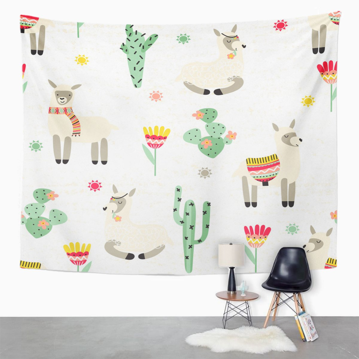Emvency Tapestry Llama Alpaca South America's Lama and Cactus on Pattern Home Decor Wall Hanging for Living Room Bedroom Dorm 50x60 inches by Emvency (Image #2)