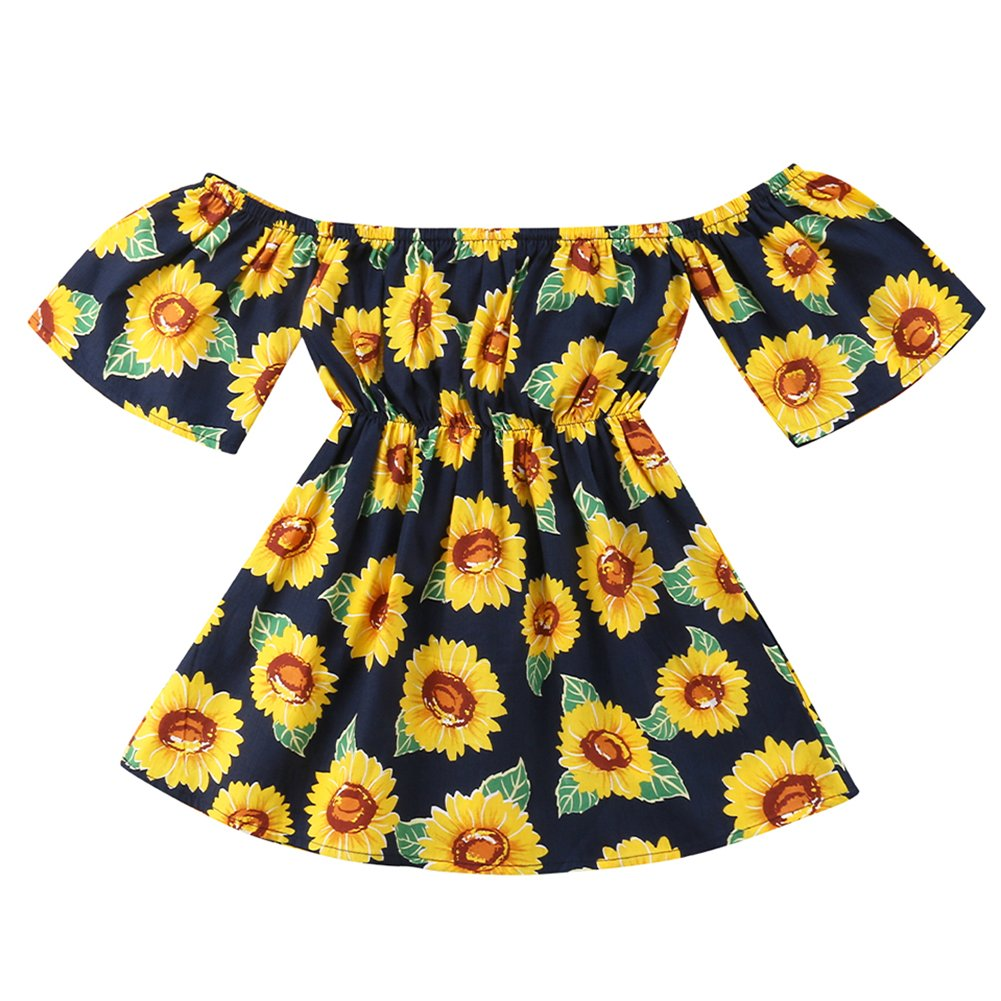 0ac3291a90338 Features: adoreble off sloulder design dress, super comfy and soft,  beautiful sunflowers prints makes your girl a shining star