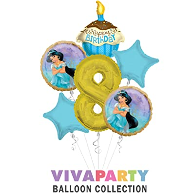 Select from Age 1 to 9 Princess Jasmine Once Upon A Time Happy Birthday Balloon Bouquet 5 pc Viva Party Balloon Collection