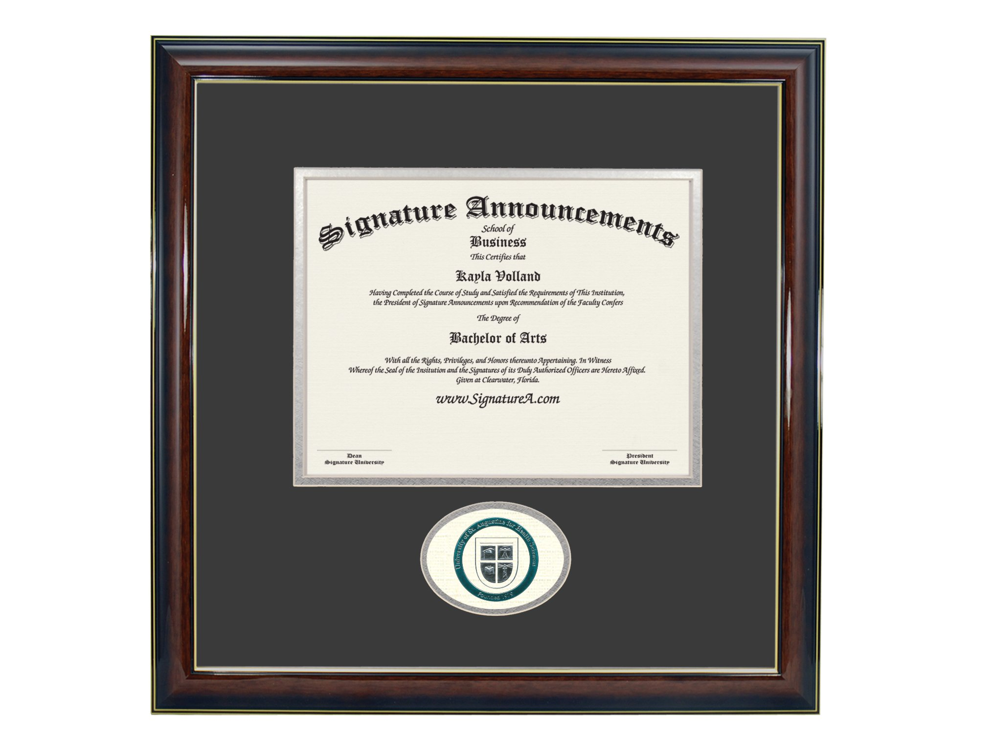 Signature Announcements University-of-St-Augustine-for-Health-Sciences-Master's Undergraduate, Graduate/Professional/Doctor Sculpted Foil Seal Diploma Frame, 16'' x 16'', Gloss Mahogany with Gold Accent by Signature Announcements (Image #3)