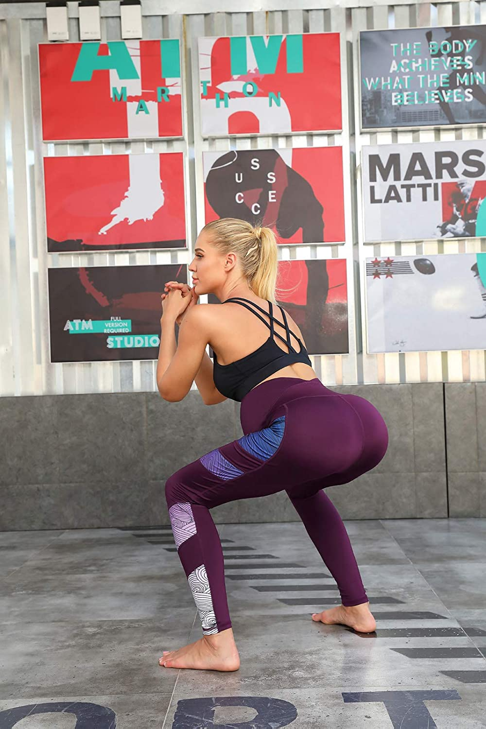 Women Maternity Side Printed Active Yoga Pants Workout Leggings with Pockets