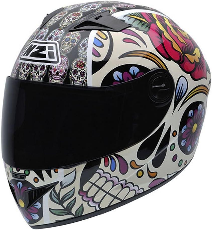 NZI 050264G582 Vital Mexican Skulls - Casco de Moto, Multicolor,Talla 54 (XS)