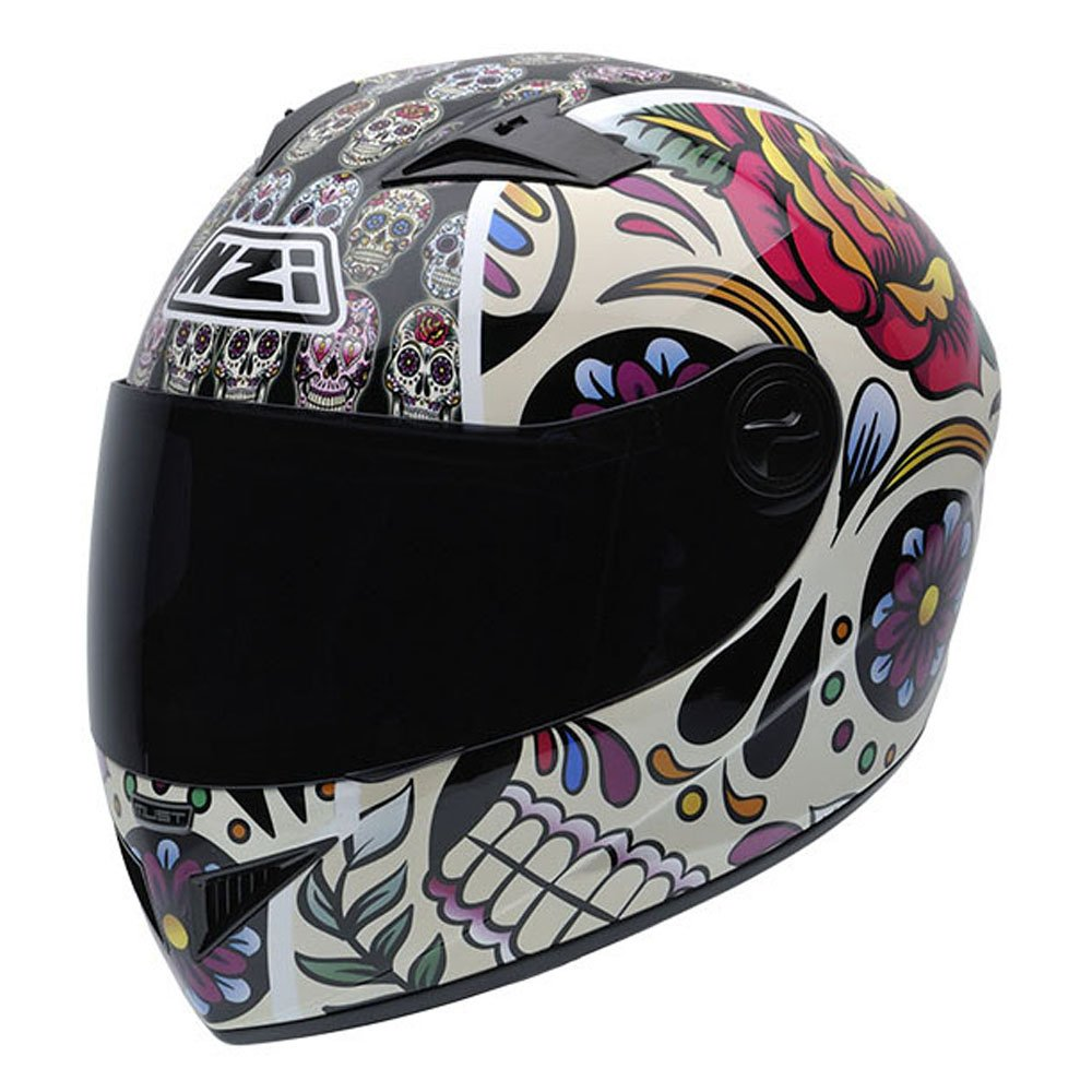 NZI 050264G582 Vital Mexican Skulls - Casco de Moto, multicolor, Talla 56 (S)