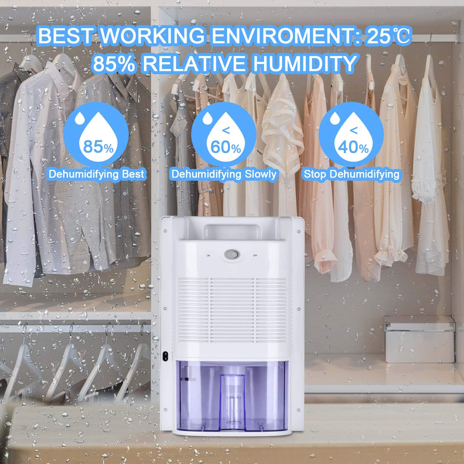 MADETEC Small Dehumidifier 2L Compact and Portable Mini Dehumidifier with Auto Shut-Off for Basement, Bedroom, Home,Closet,Bathroom,Kitchen, Large Room, Caravan, Office, Garage(300 sq ft)