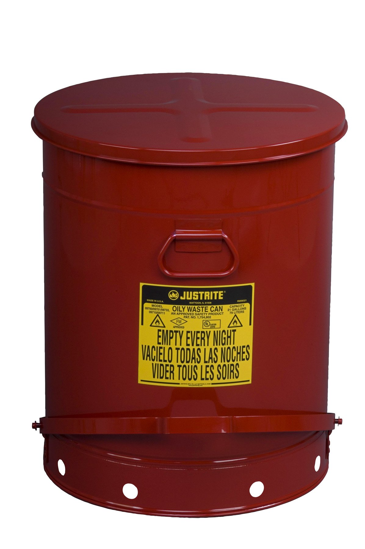 Justrite 09700; Galvanized-steel; Safety cans; For Oily waste; Red; Foot Operated cover; Raised, ventilated Bottom; Reinforced ribs; Self-closing; UL listed; FM approved; Capacity: 21 gal. (79L)