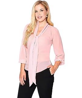 fa94e1b9a8a KRISP® Women Chiffon Long Sleeve Blouse Buttoned Shirt Tie Front Casual Tops  Black