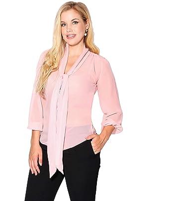 6e41b7981422d Amazon.com  KRISP Womens Elegant Classic Work Tie Bow Neck Long Sleeve  Chiffon Top Shirt Blouse Plus Size  Clothing