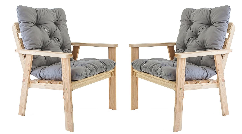 Ambientehome Gartensessel Loungesessel Sessel Gartenstuhl Massivholz inkl. Kissen HANKO, Natur, 2-teiliges Set