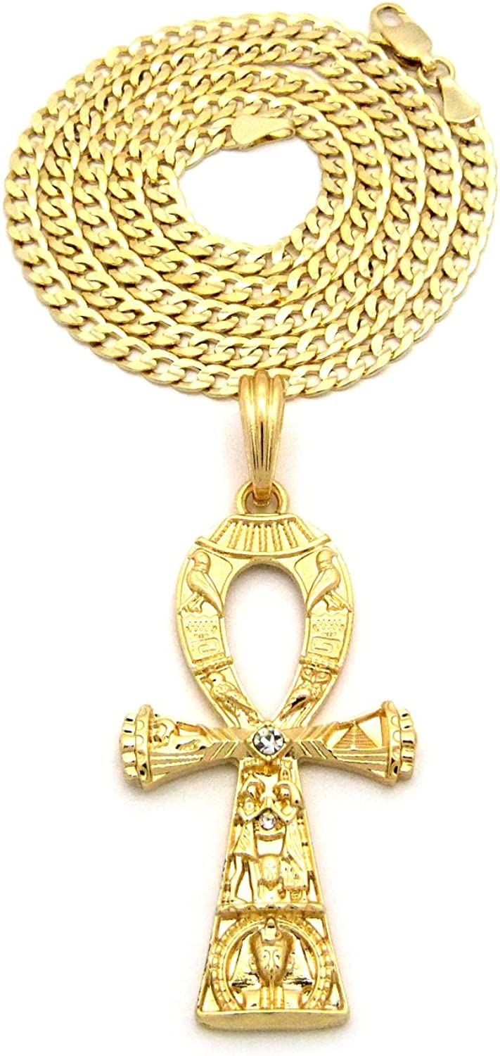 Gold Tone Micro Studed Ankh Cross Pendant 4mm 24 Concave Diamond Cut Cuban Chain Necklace RC1232G