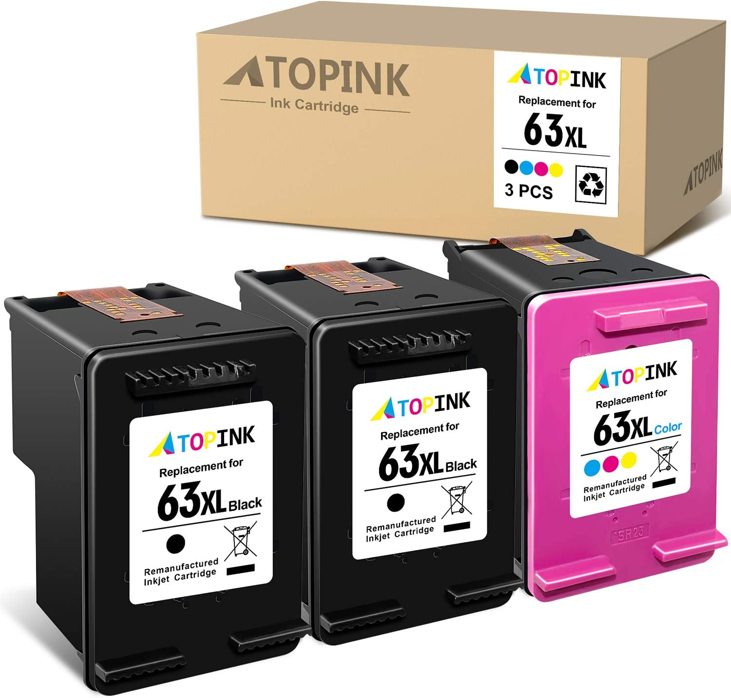 ATOPINK Remanufactured Ink Cartridge 63 XL Replacement for HP 63XL Work with DeskJet 1112 1110 2130 3632 OfficeJet 5255 3830 3834 4650 4652 4655 5252 5258 Envy 4520 4512 (2 Black, 1 Tri-Color) 3-Pack