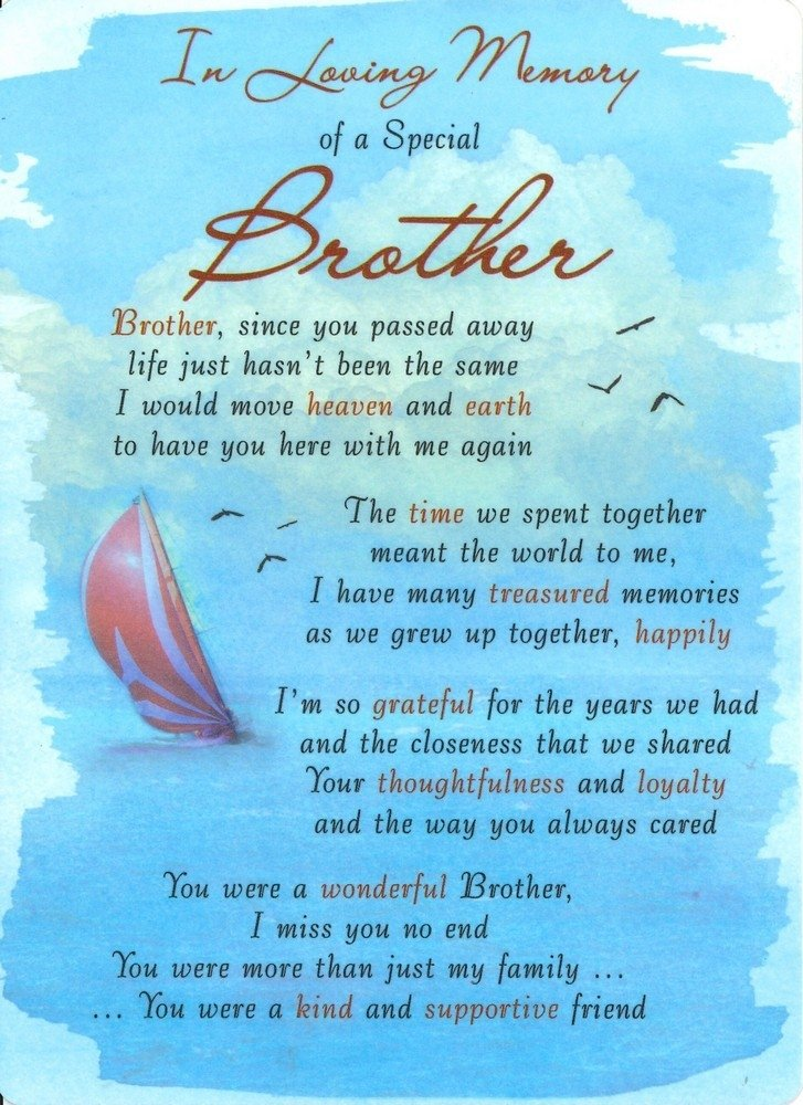 in loving memory of a special brother family grave card