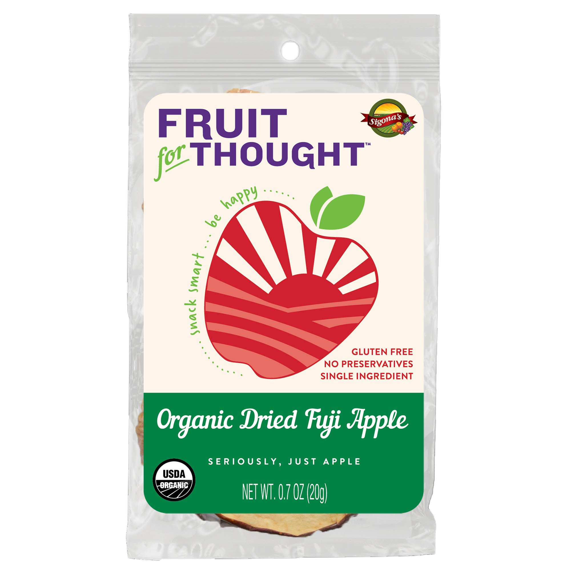 USA Grown Individually Packed Organic Dried Fuji Apple Slices - Seriously Just Fuji Apples, No Added Sugar, No Preservatives - Organic Dried Apples In On-The-Go Individual Snack Packs (Pack of 10) by Fruit For Thought