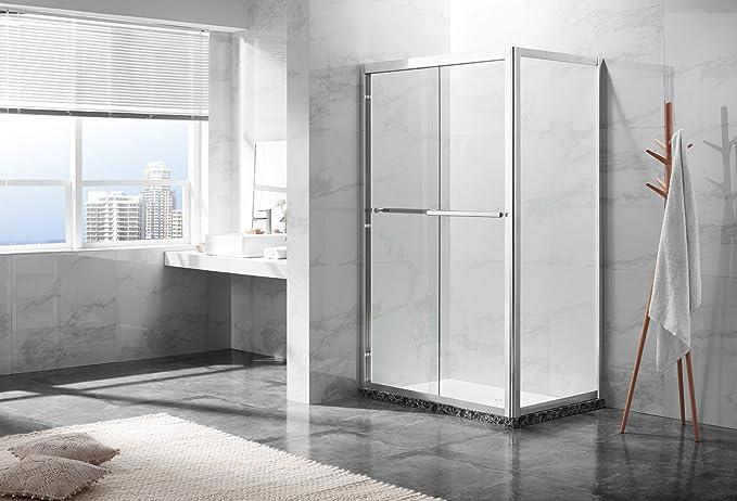 8 mm – Mampara de ducha puerta corredera ducha Cristal 120 x 80 x ...