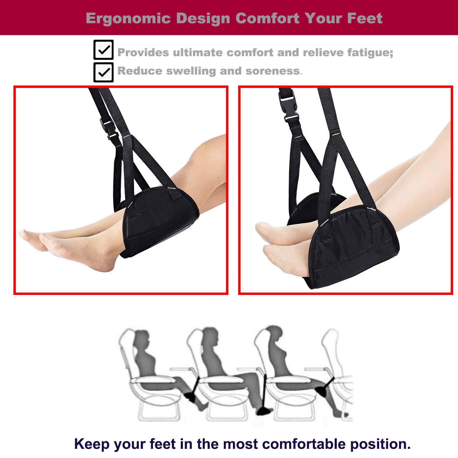 Provides Relaxation and Comfort Made with Premium Memory Foam Footrest Hammock Portable Sling Travel Leg Hammock for Airplane-Tested and Proven to Prevent Swelling Footrest Hammock Accessories Set