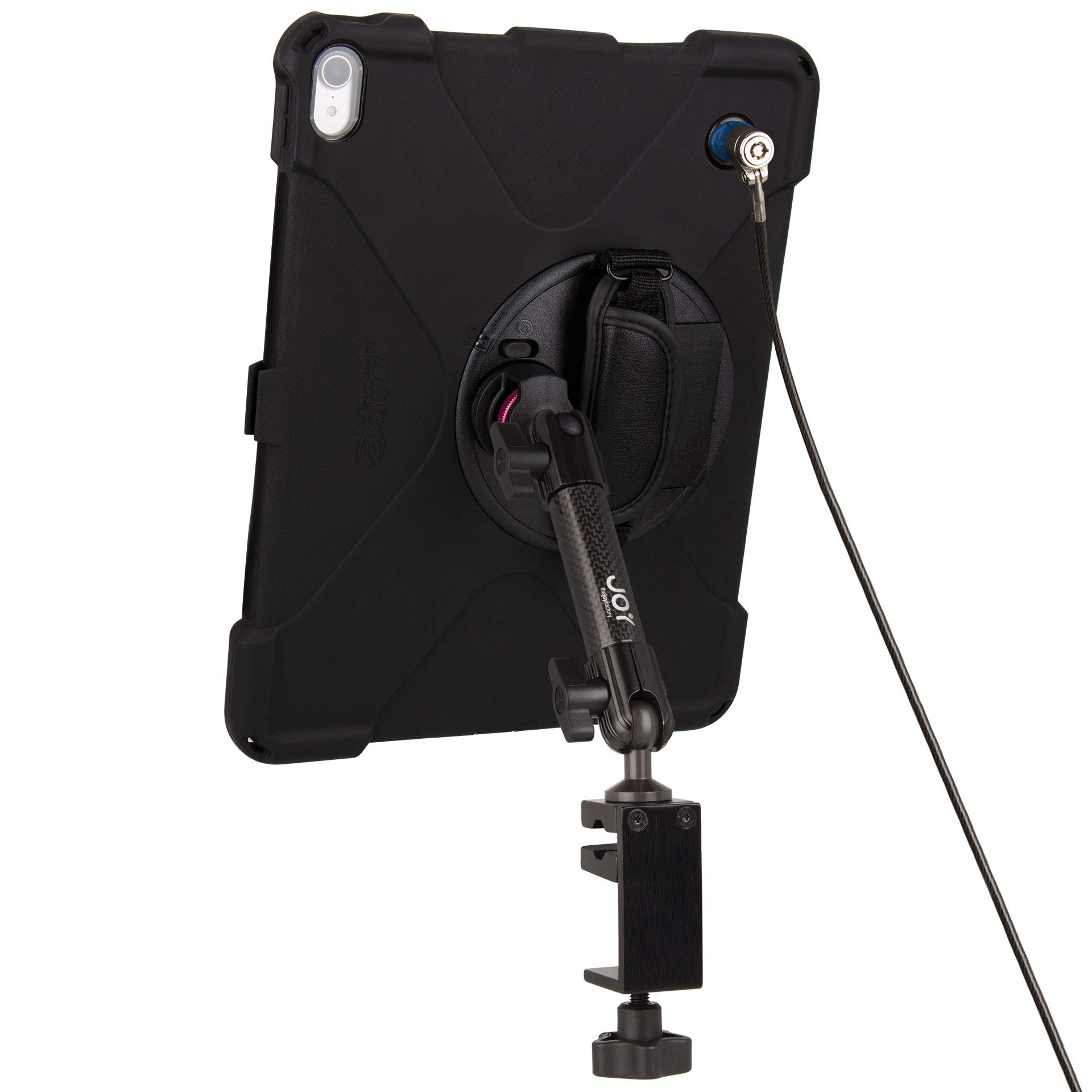 The Joy Factory MagConnect Carbon Fiber C-Clamp Mount w aXtion Bold MPS Water-Resistant Rugged Security Case for iPad Pro 12.9'' [3rd Gen], Built-in Screen Protector, Hand Strap, Kickstand (MWA4102MPS)