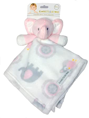 Amazon.com  Blankets and Beyond Baby Plush Elephant Security Blanket Pink  White Grey Nunu  Baby 41a3bb3ff