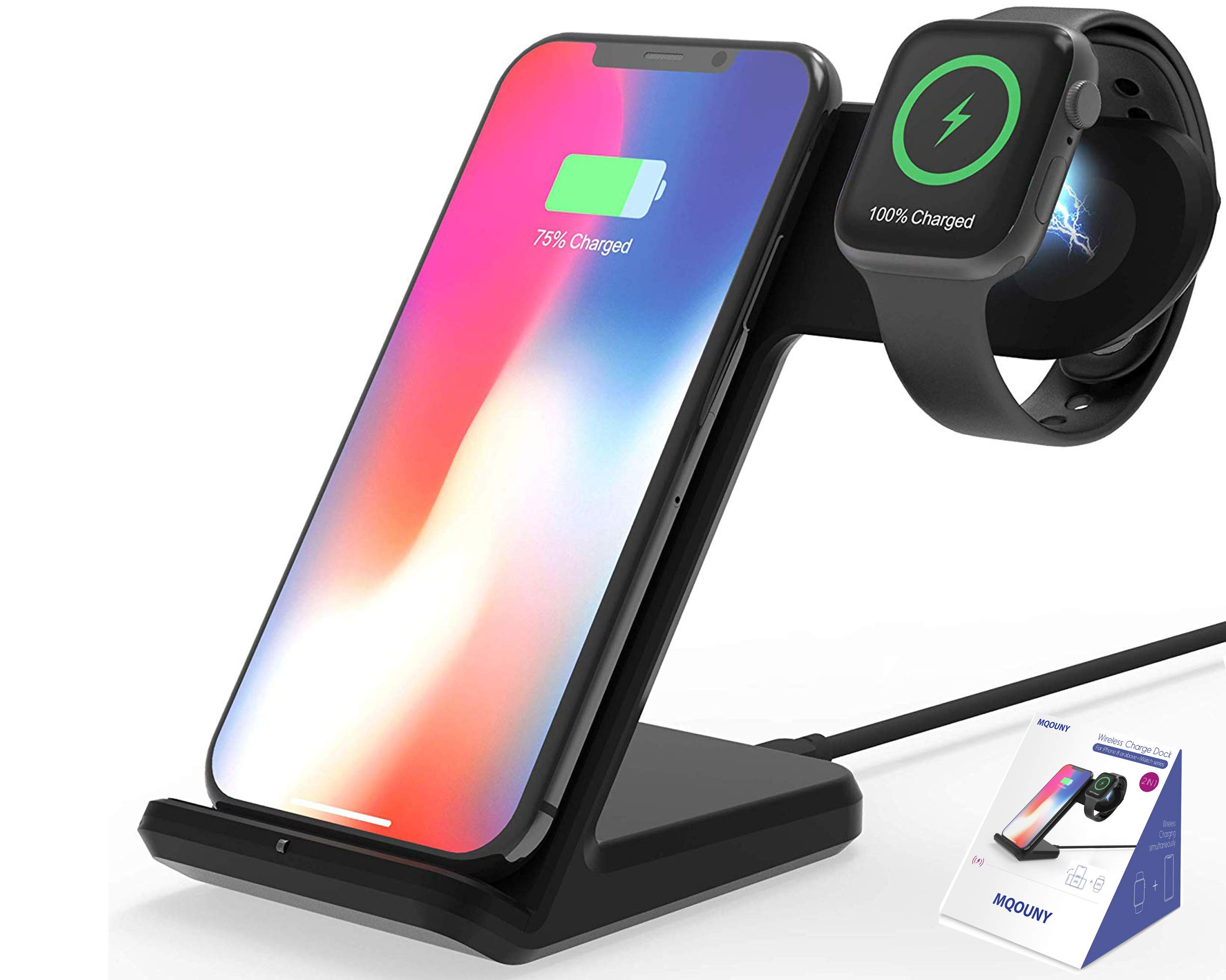 Wireless Charger,MQOUNY 2 in1 in 1 Wireless Charger Stand,Charging Station Compatible with iWatch Series 4/3/2/1,Fast Wireless Charger Compatible with iPhone 8/X/XR,Samsung S10 All Qi Phones (Black) by MQOUNY