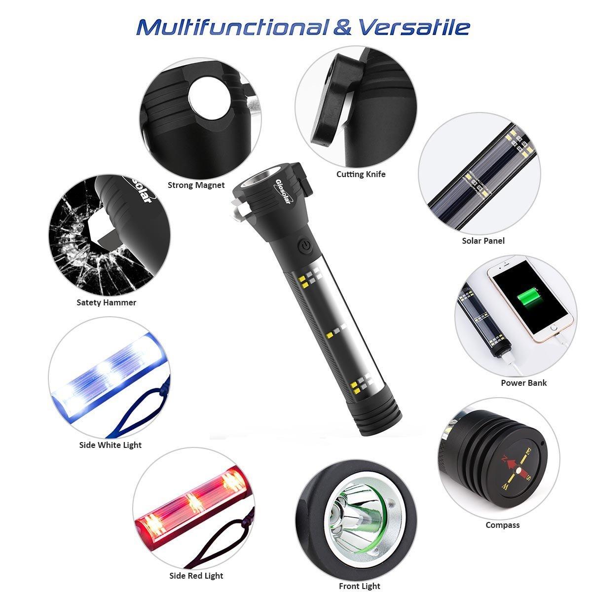 Giosolar multifonction lampe de poche rechargeable USB lampe de poche /à /énergie solaire lampe torche /à main lev/ée ext/érieur /étanche Camping Lampes de poche avec c/âble de charge USB