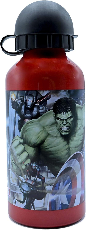 ML Botella de Agua de Aluminio para niños y niñas, Hulk cantimplora térmica a Prueba de Fugas sin BPA para Levar a la Escuela y Deportes el Termo 400ml Verde
