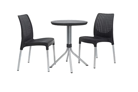 Keter Chelsea 3 Piece Resin Outdoor Patio Furniture Dining Bistro Set With Patio  Table And