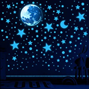 1630 Pieces Glow in The Dark Stars for Ceiling Glow in The Dark Stars and Moon Wall Decals Luminous Stickers for Bedroom Boys Girls Nursery Living Room (Fluorescent Blue)