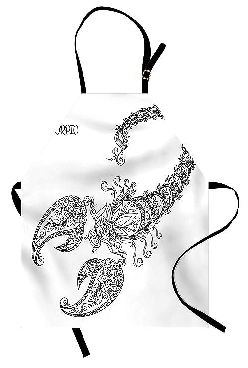 Zodiac Scorpio Delantal, línea dibujada a mano arte estilo floral ...