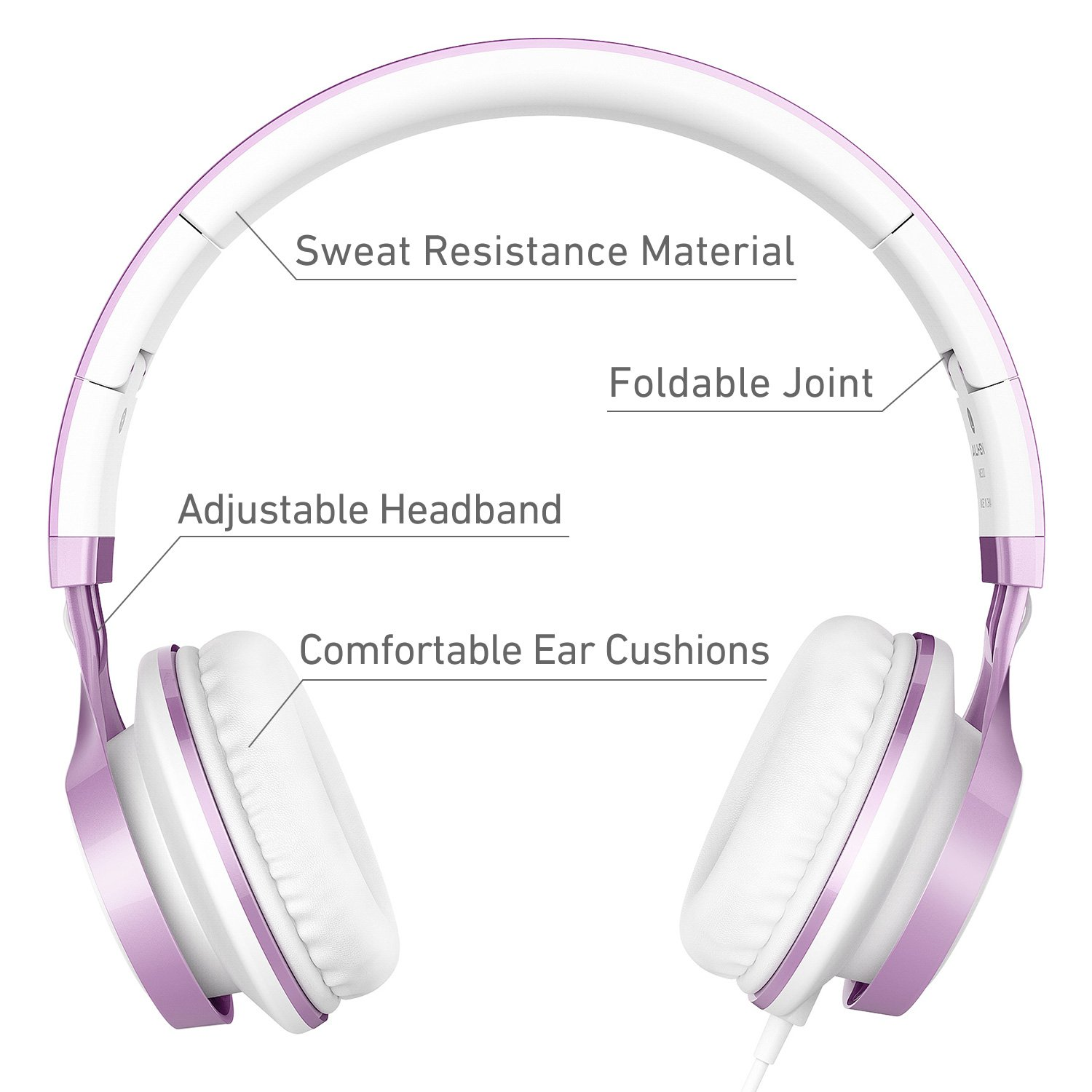 AILIHEN MS300 Wired Headphones, Stereo Foldable Headset for iOS Android Smartphone Laptop Tablet PC Computer (Purple)