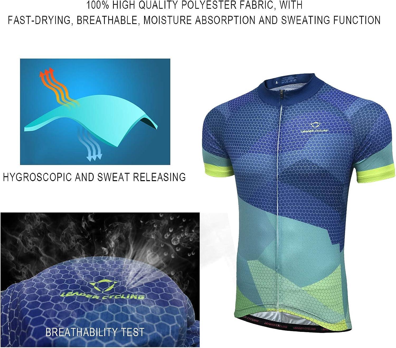 LEADER CYCLING Mens Cycling Jerseys Quick Dry Biking Shirt Summer Short Sleeve