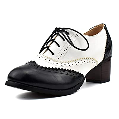 100FIXEO Women Block Heel Wingtip Oxford Shoes | Oxfords