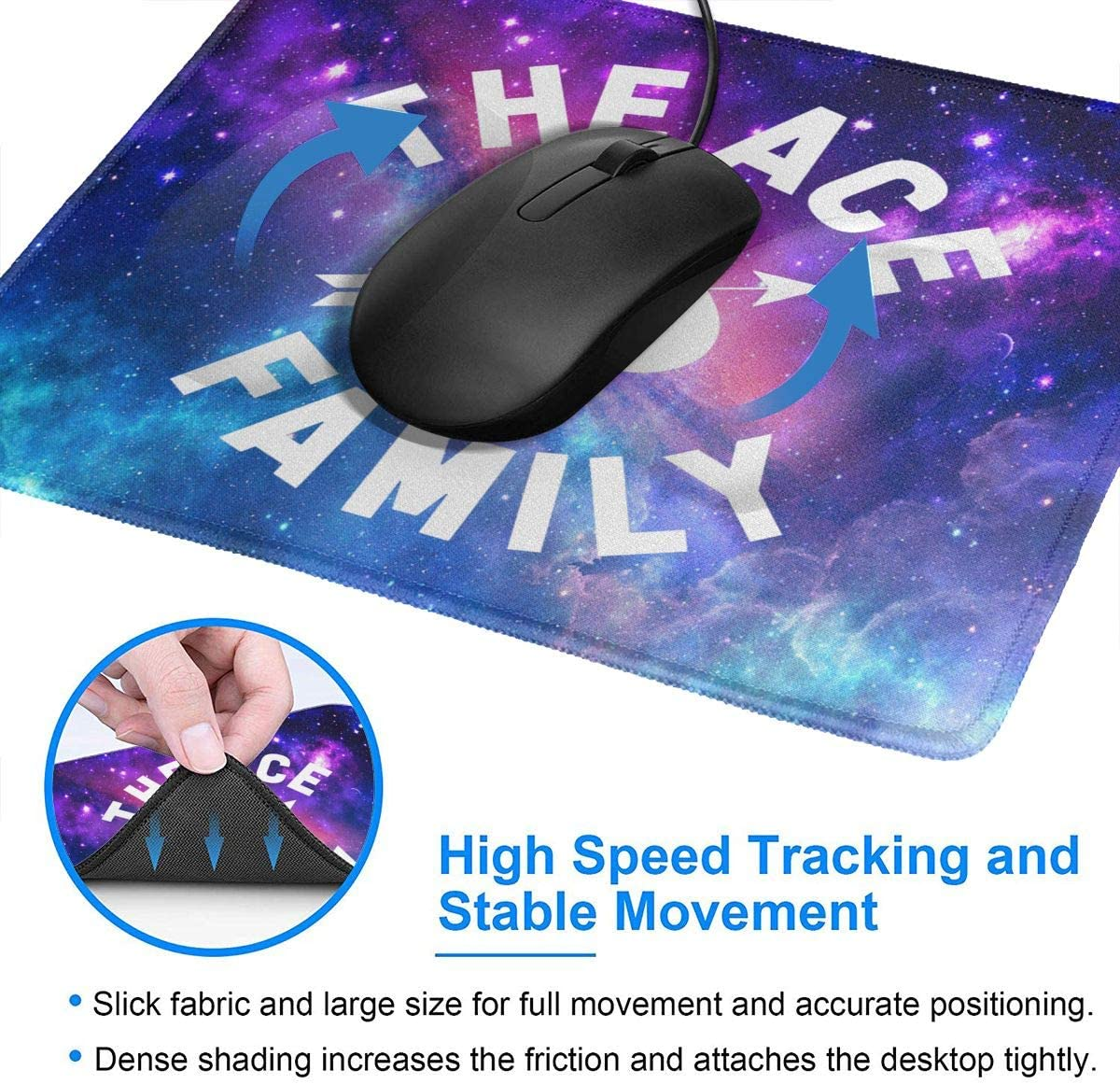 Marrh The Ace Family Mouse Pad Pattern Mousepad Non-Slip Rubber Gaming Mouse Pad Rectangle Mouse Pads for Computers Laptop7.9 X 9.5 in