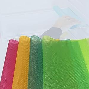 Refrigerator Mats,4 Pcs Waterproof EVA Refrigerator Pads Non-Slip Washable Fridge Mats Can be Cut, Drawer Table Placemats (4 Colors)