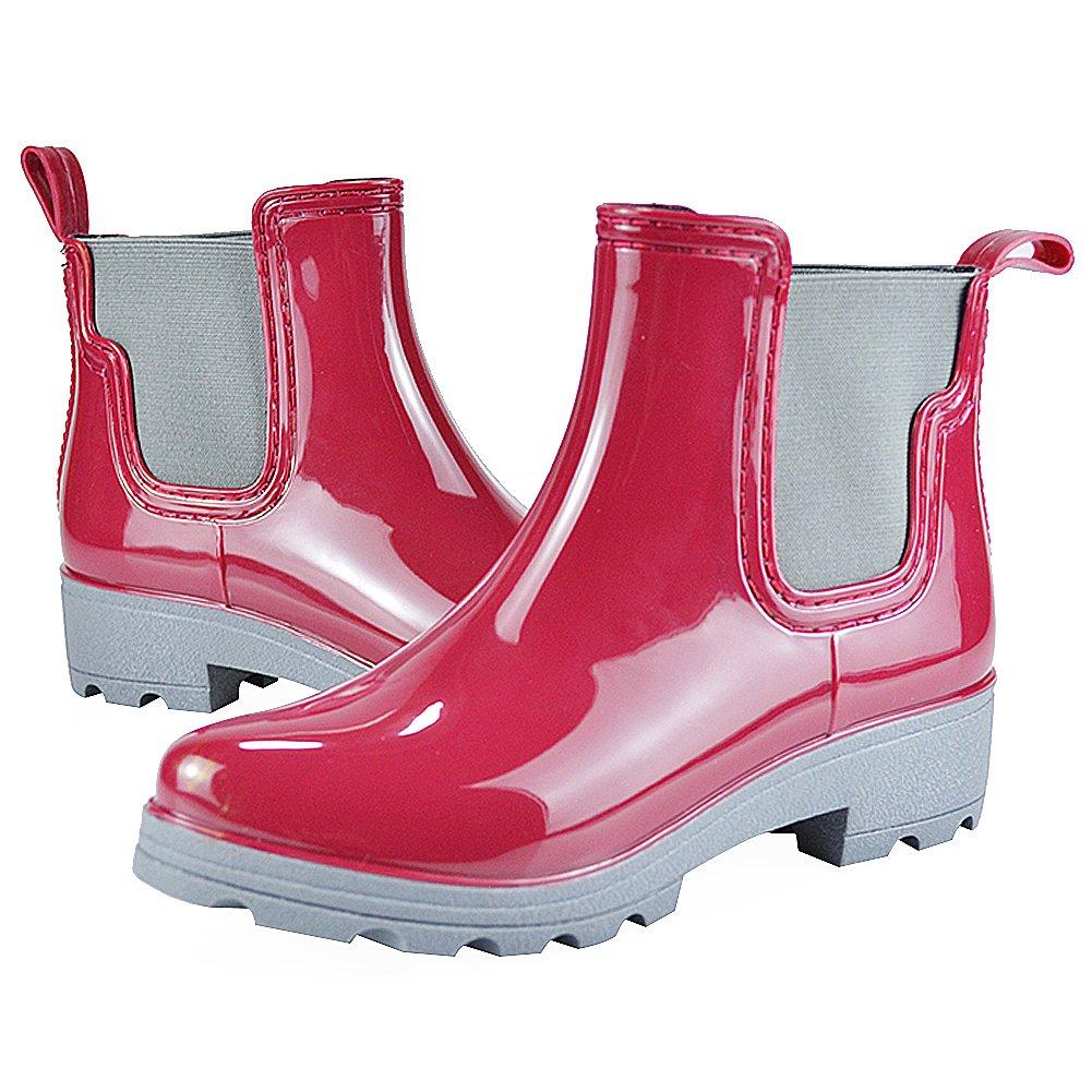 Jamron Women Stylish Chelsea Boots Snow Rain Boots High Ankle Chunky Heel Wellington Boots