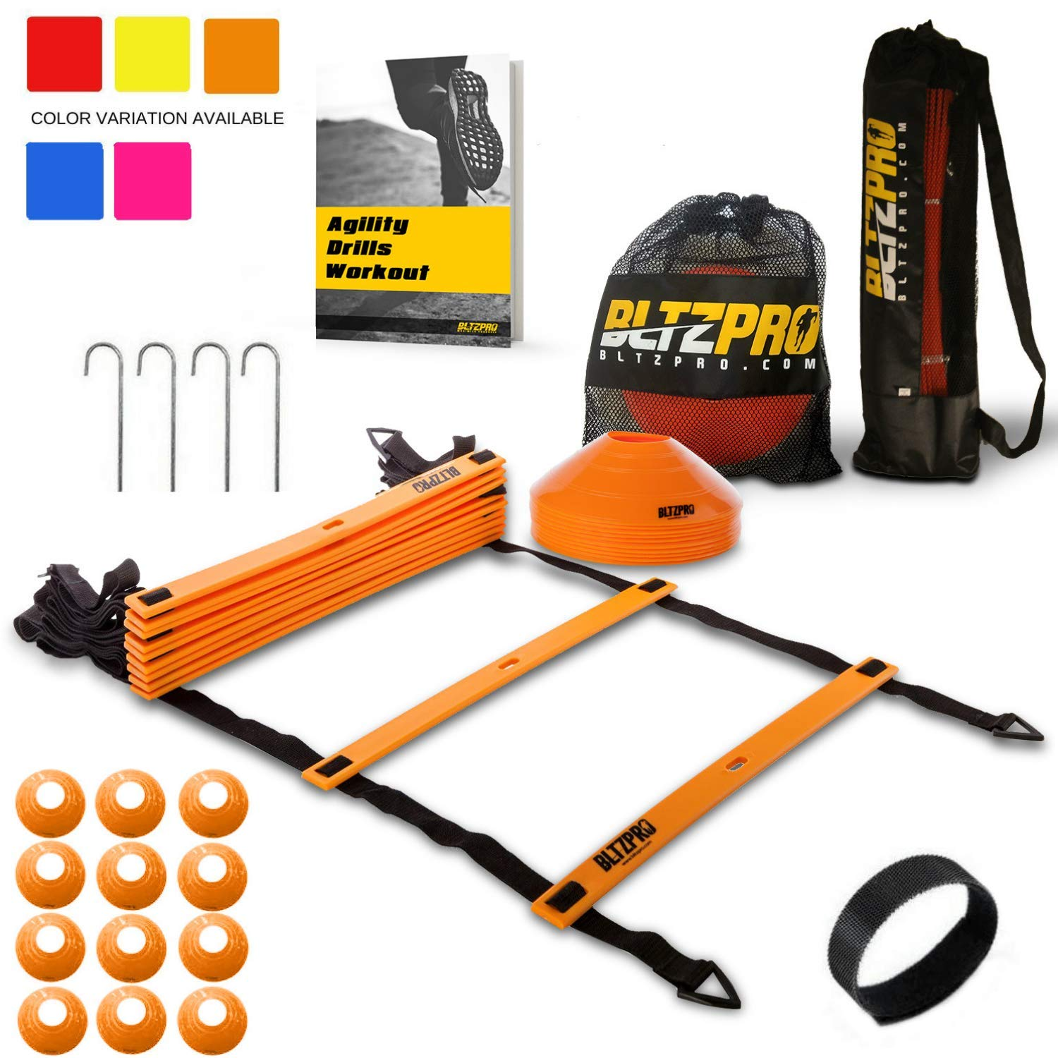 Bltzpro Agility Ladder with Soccer Cones- A Speed Training Equipment for Football and Team Sports Skills Practice. Ideal for Kids Coaching and Conditioning Includes 2 Bags & 24 Agility Drills eBook