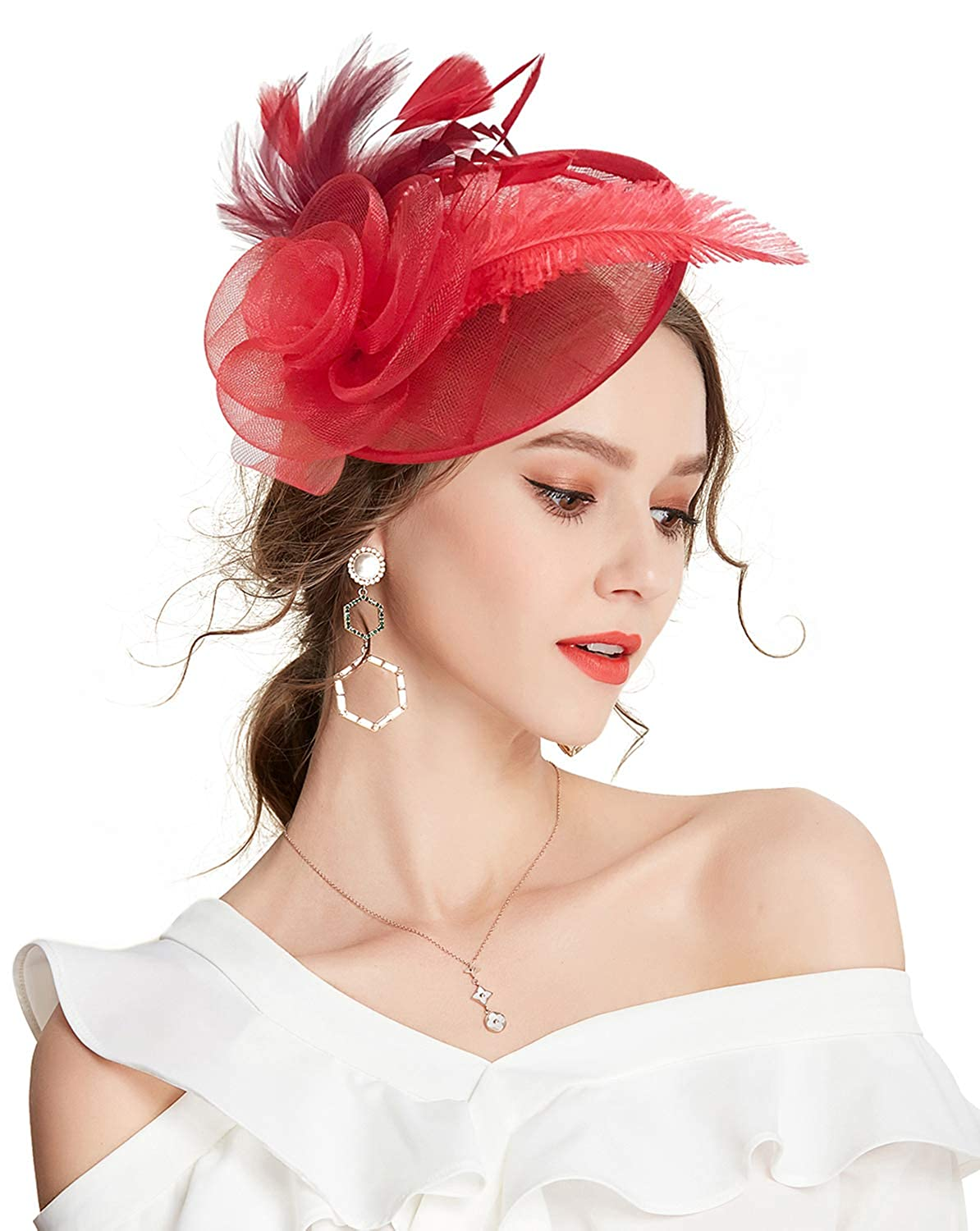 Z&X Sinamay Fascinator with Headband Clip Mesh Flower Feather Cocktail Pillbox Hat