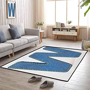 Letter W Hallway Rug Symmetrical Latin Letter Capital W with Blue Jean Pattern Typography Design Print Home Decor 4'x6' Blue Yellow