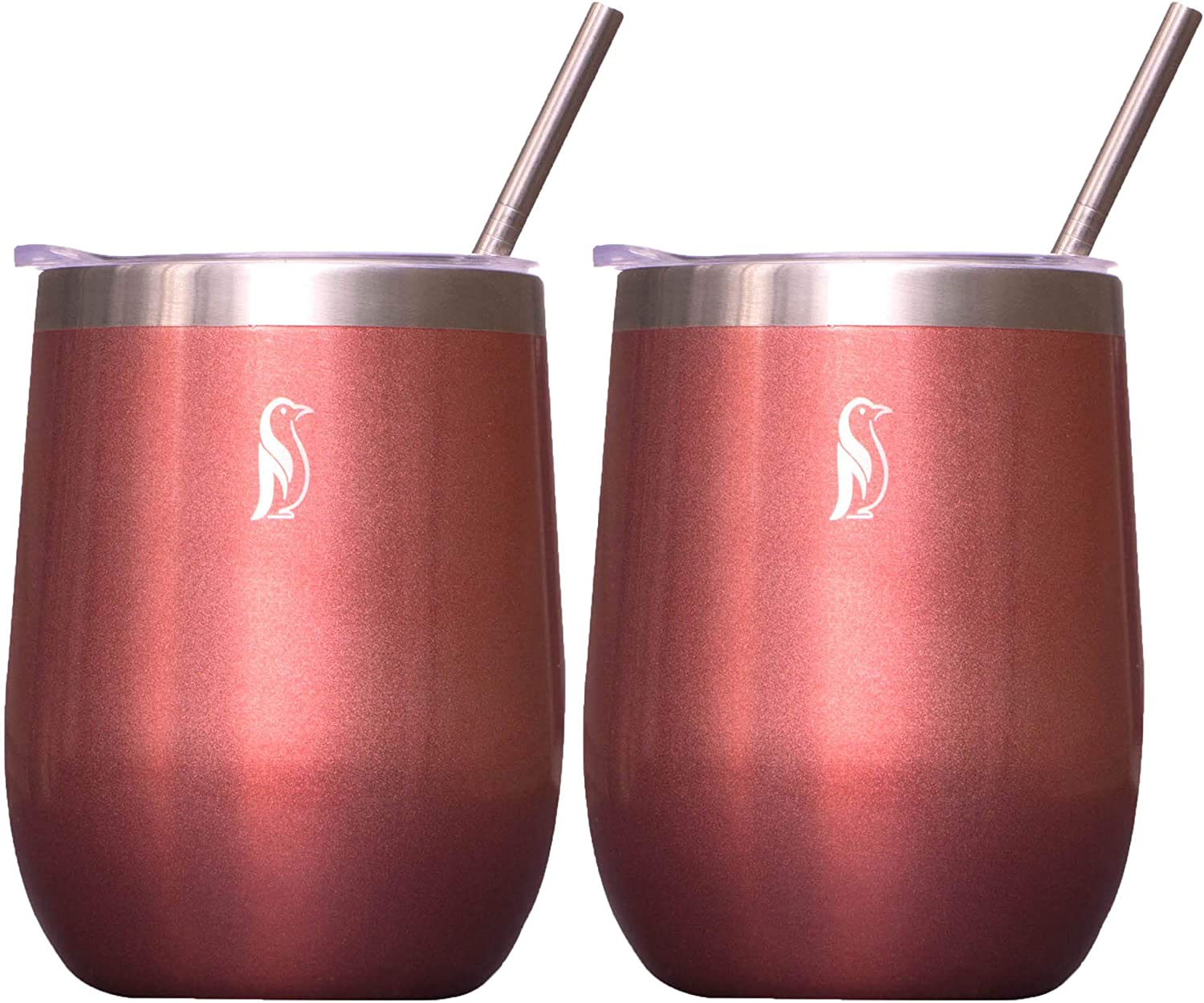 Sizzlin Penguin Insulated Wine Tumbler with Lid and Straw – Vacuum Sealed Stainless Steel 12 oz Stemless Travel Wine Glass – BPA Free (Rose Gold)